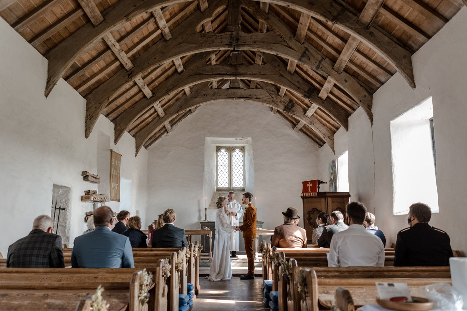 Wedding ceremony at Mwnt Church, West Wales