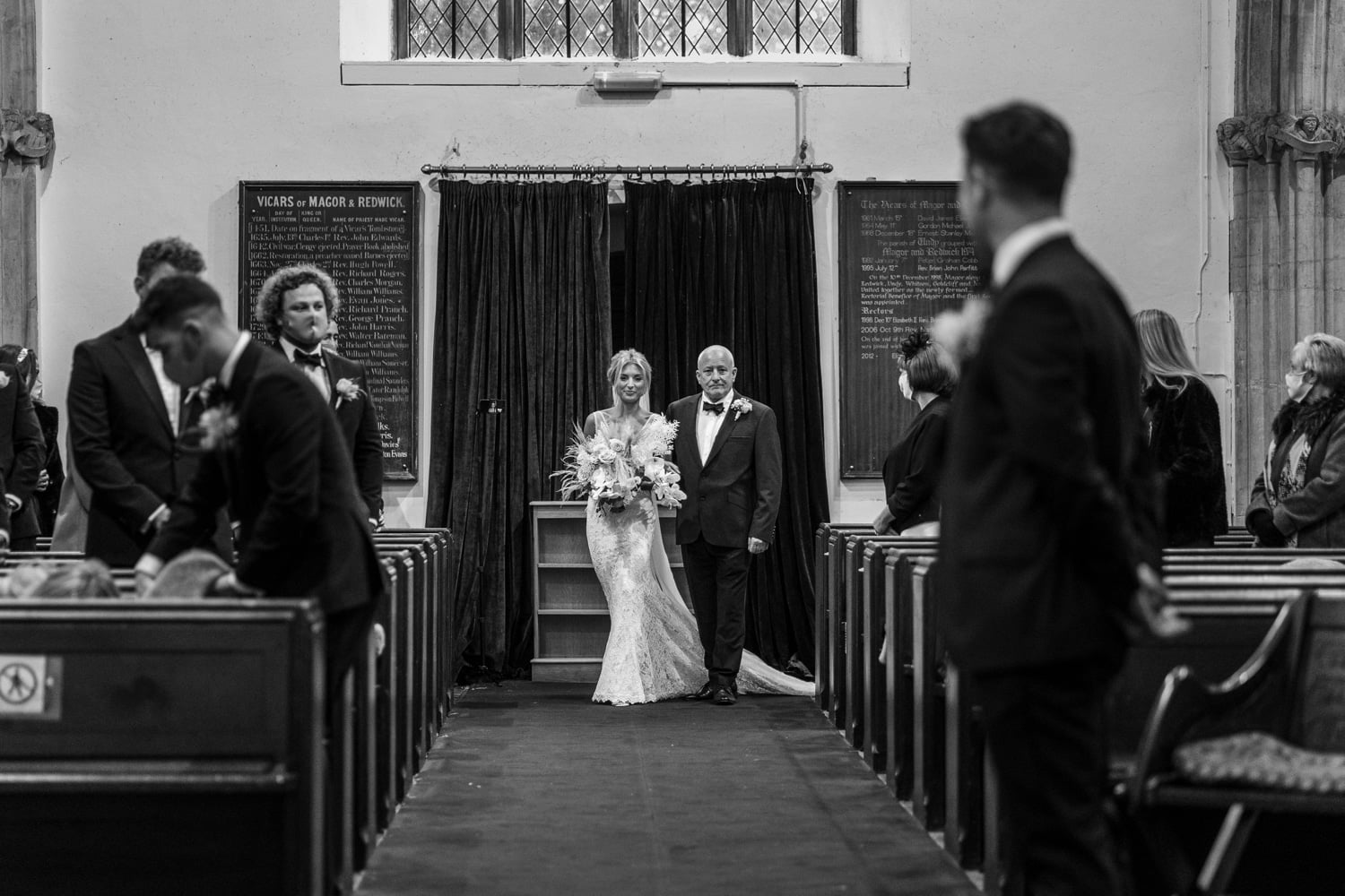 Marriage ceremony at St Mary's Church, Magor
