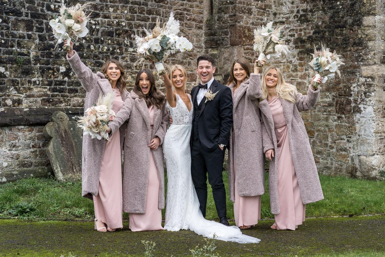 Bridesmaids at St Mary's Church, Magor
