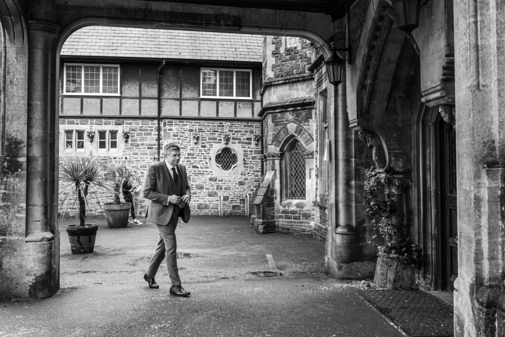 Groom arrives at Insole Court