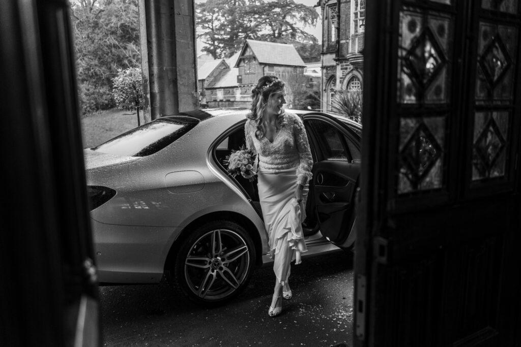 Bride arrives at Insole Court