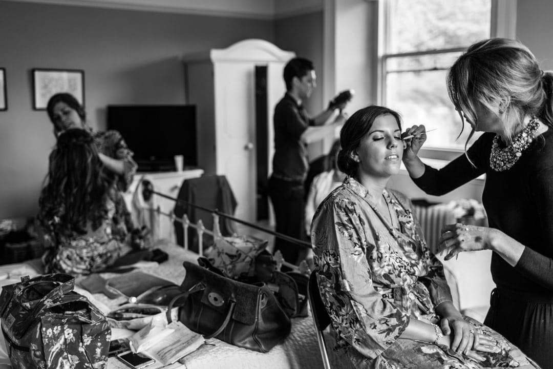 Bridal preparations, make up applied