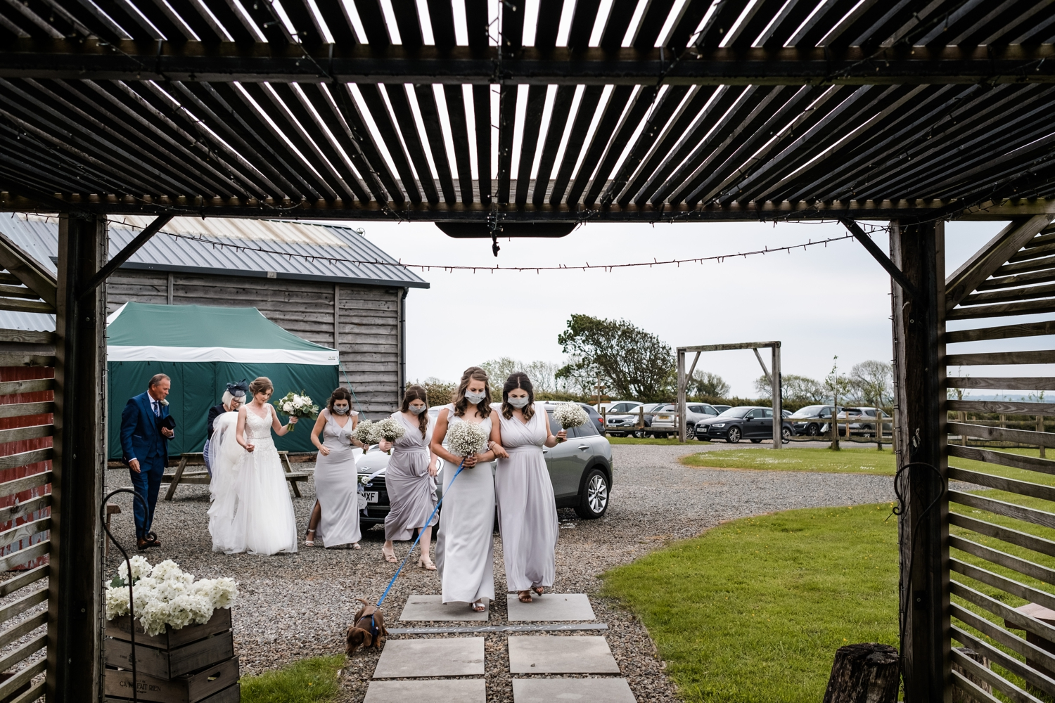 Bride arrives at Woodhouse Barn