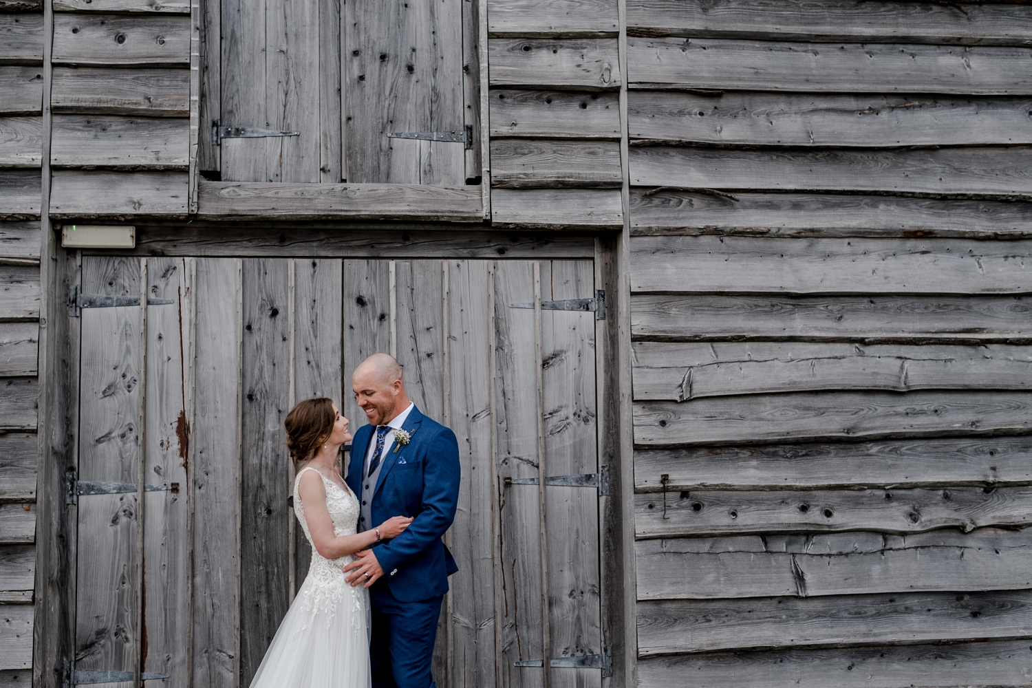 Bride and groom at Woodhouse Barn