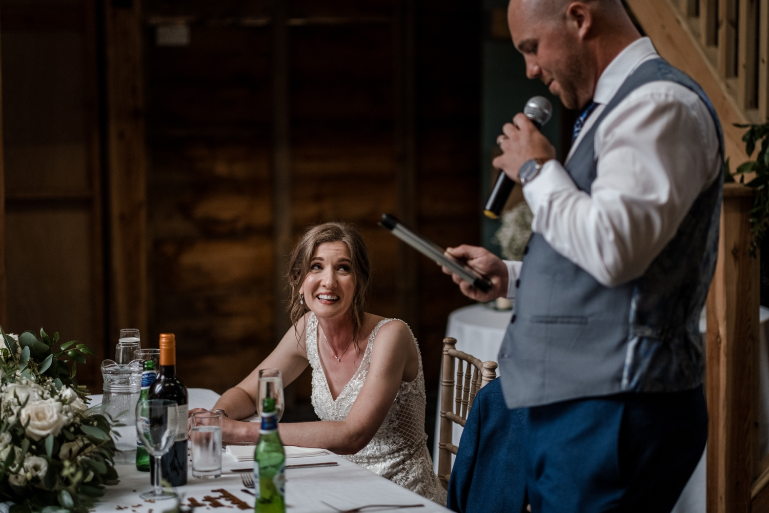 Wedding speeches at Woodhouse Barn