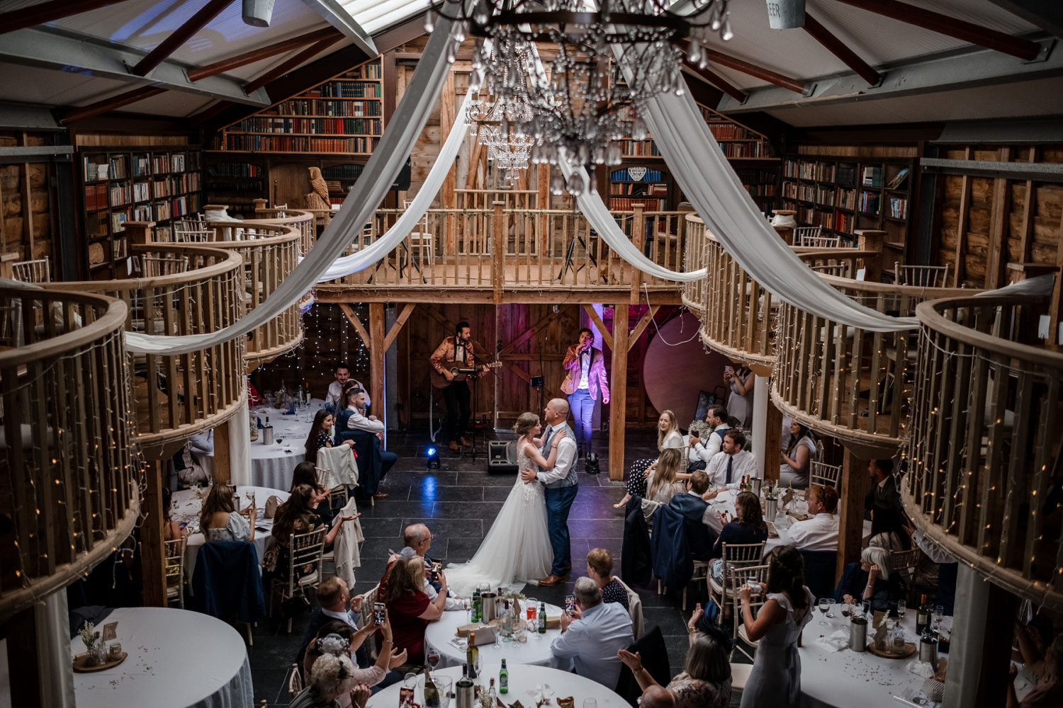 Wedding first dance at Woodhouse Barn