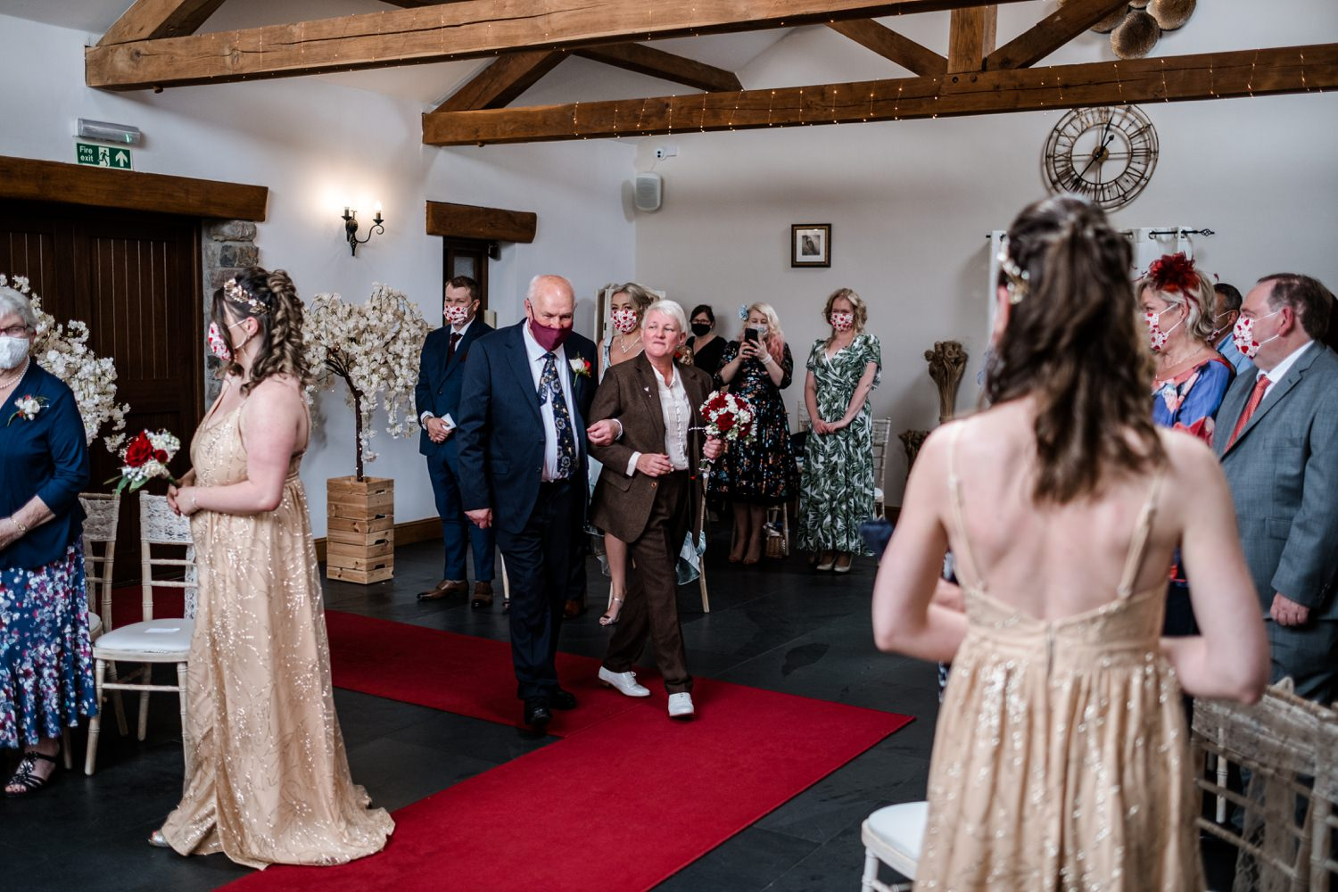 Lesbian bride arrives with father