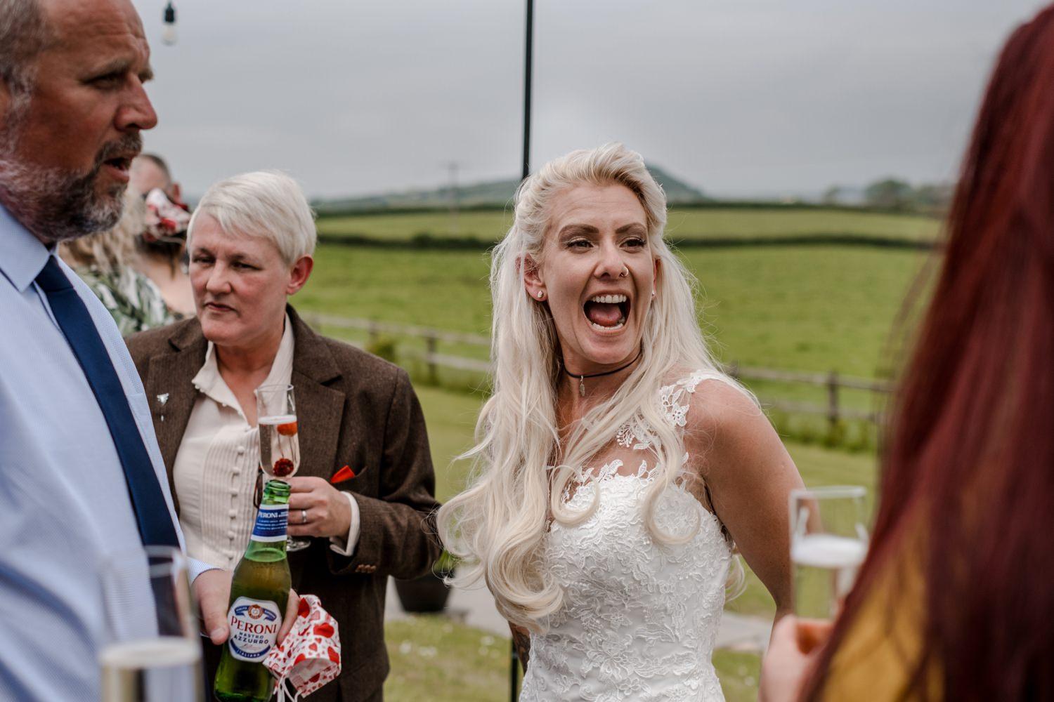Same sex wedding reception ar Ocean View Windmill Farm, South Wales