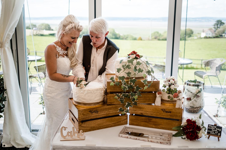 Same sex couple cutting cake