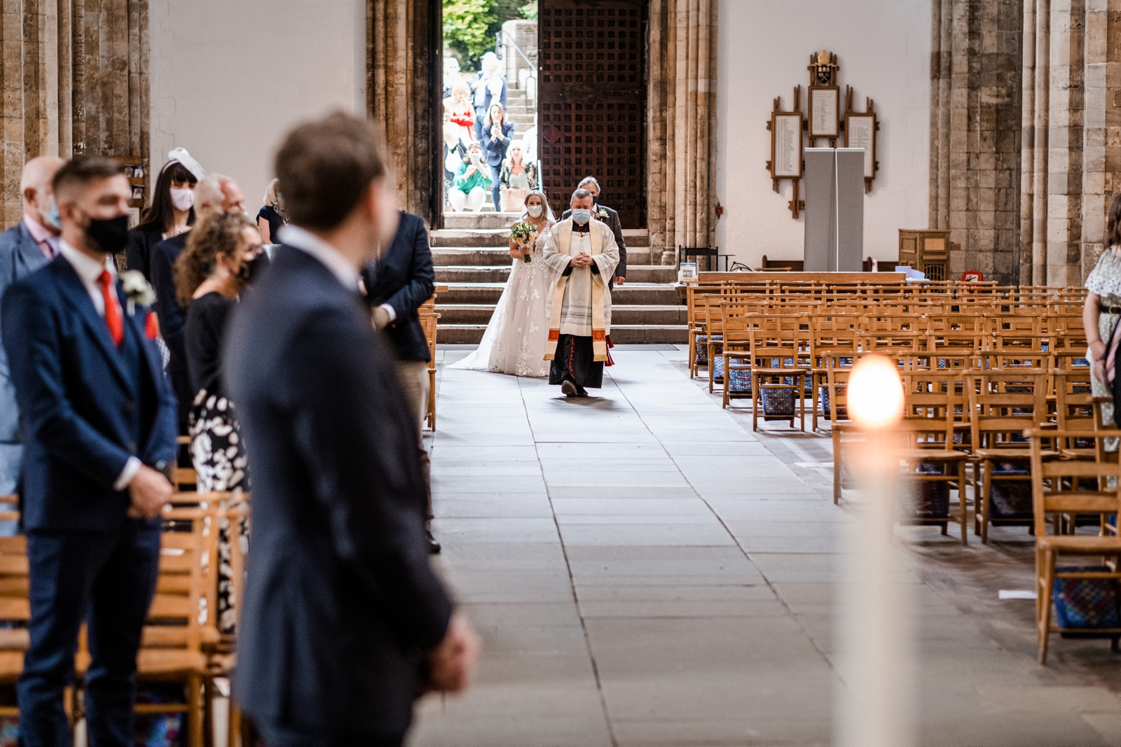 Bridal and father enters Llandaff Cathedral