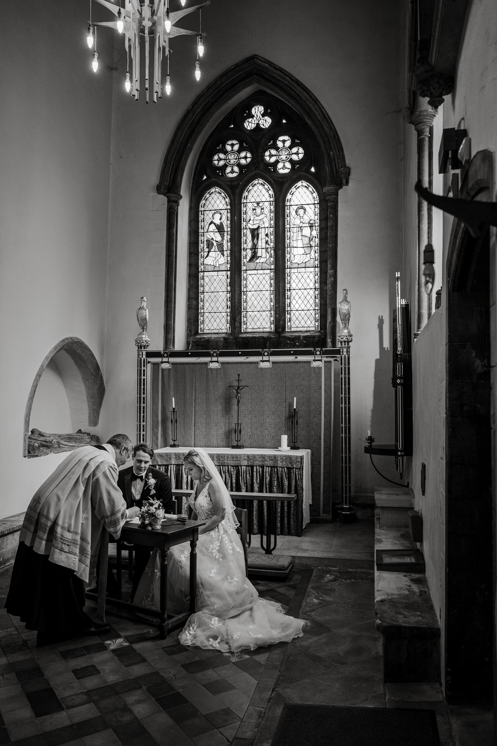 Signing register at Llandaff Cathedral