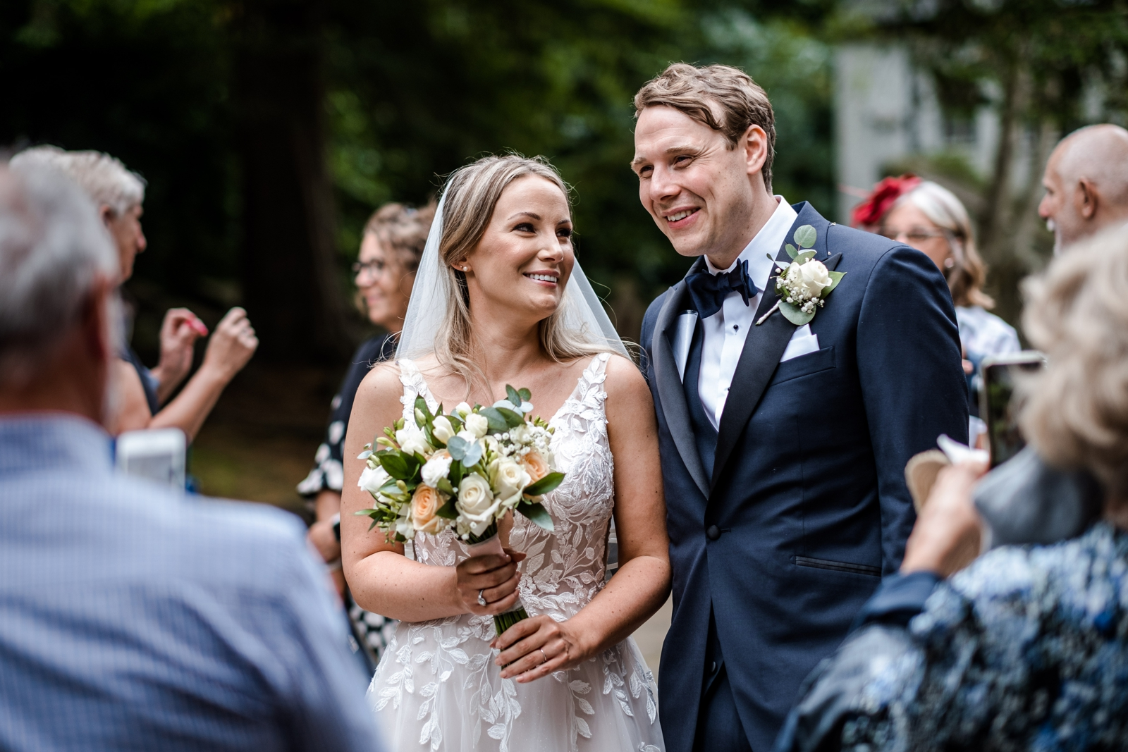 Bride and groom outside Llandaff Cathedral