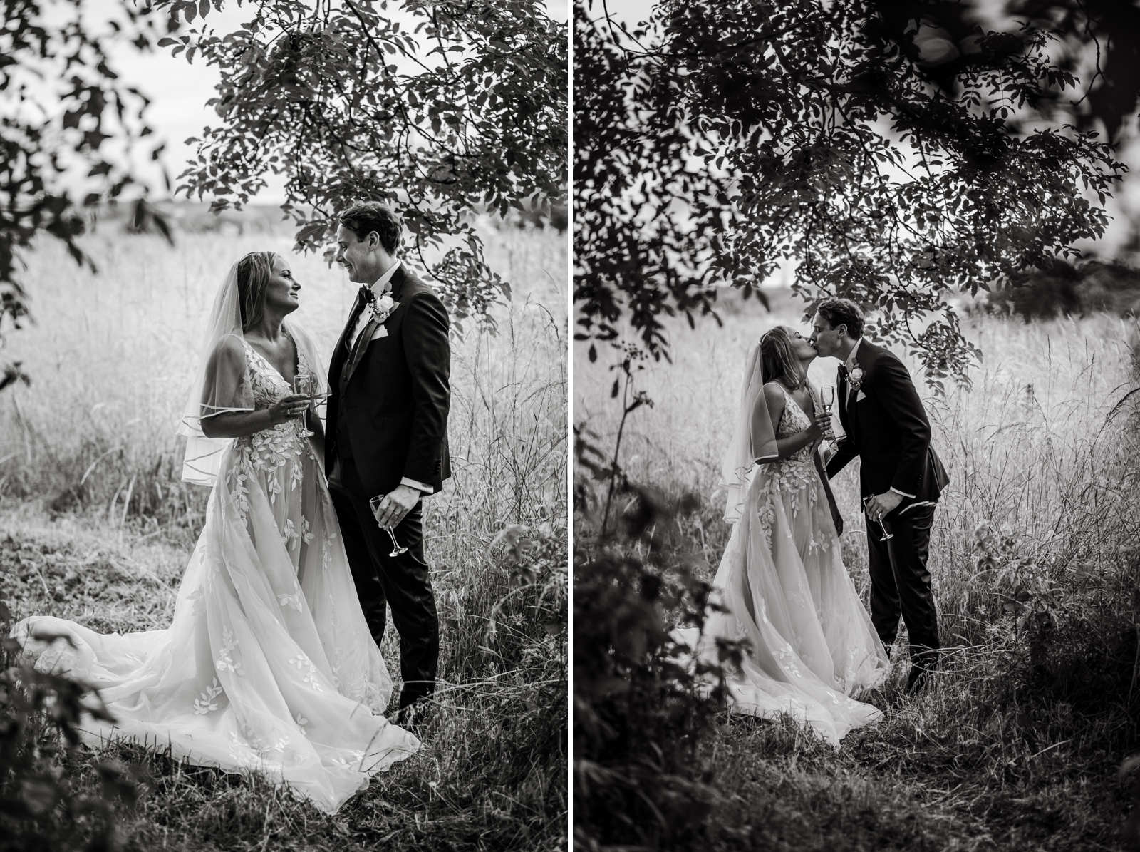 Bride and groom in field in South Wales