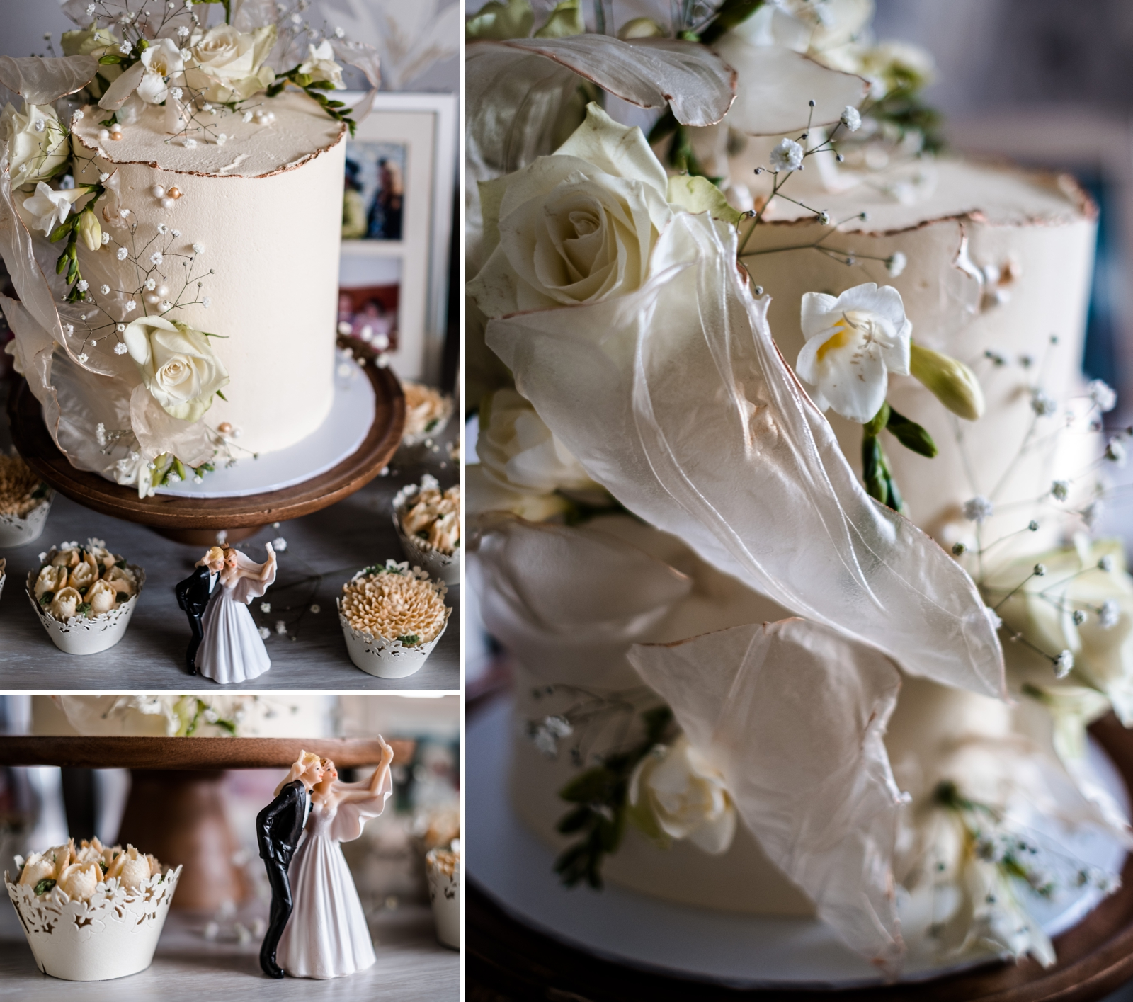 Home wedding cake reception in South Wales