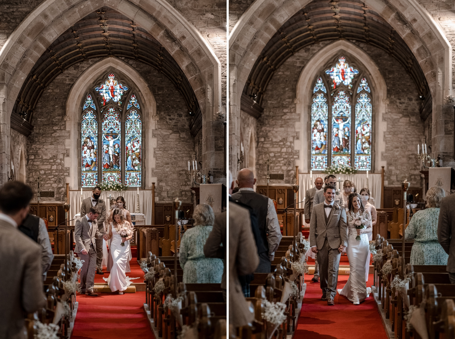 Marriage ceremony at Church of St Cadoc, Raglan, Monmouthshire, South Wales