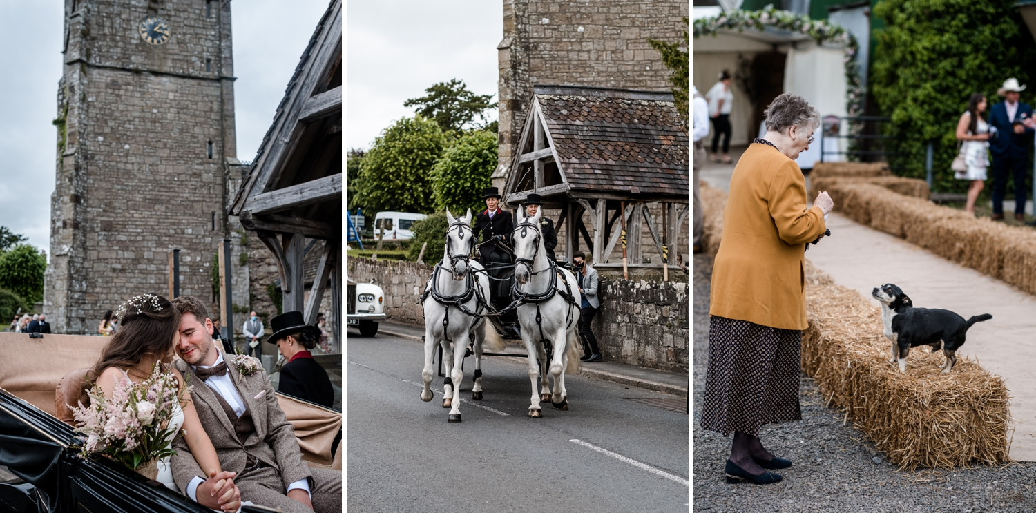 Bride and groom leaving Church of St Cadoc, Raglan, Monmouthshire, South Wales
