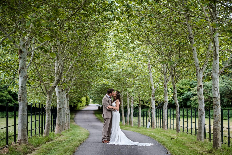 Bride and groom portraits on Welsh farm wedding